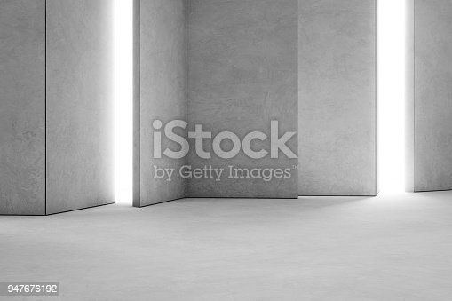 istock Abstract interior design of modern showroom with empty white concrete floor and gray wall background. Hall or stage 3d illustration. 947676192
