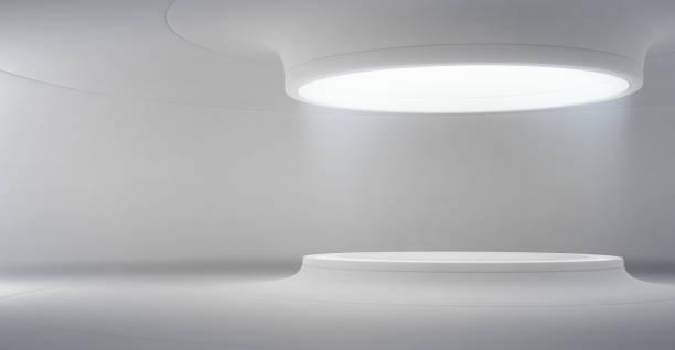 abstrakta inredning i modern utställningshall med tomma vita golvet och böjda betongvägg bakgrund, podium för produkten visas i framtiden arkitektur eller rymdskepp. - hospital studio bildbanksfoton och bilder
