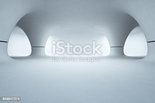 istock Abstract interior design of modern showroom with empty white floor and smooth concrete wall background, Future architecture or alien house 849847374