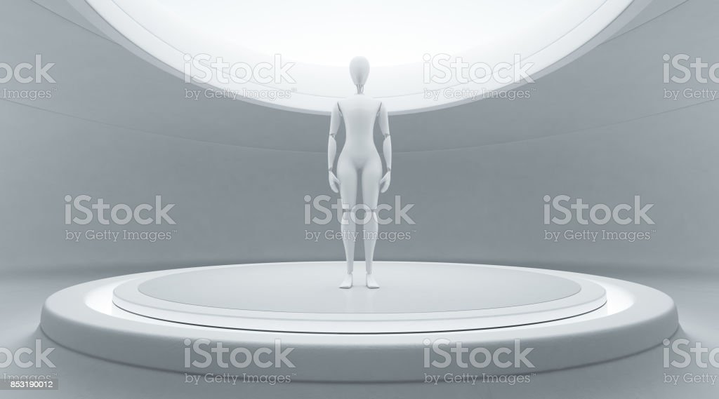 Abstract interior design of modern showroom with white floor and empty curved wall background, Robot on stage in future technology concept stock photo