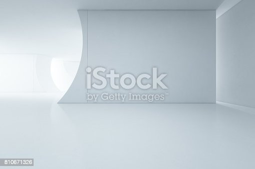 istock Abstract interior design of modern white showroom with empty floor and concrete wall background 810671326
