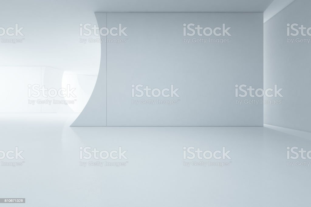 Abstract interior design of modern white showroom with empty floor and concrete wall background stock photo