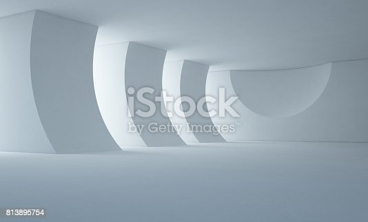istock Abstract interior design of modern white showroom with empty floor and concrete wall background 813895754