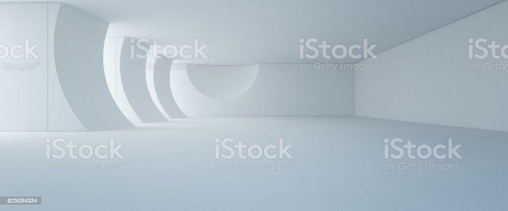 Design d'intérieur abstrait moderne blanc showroom avec plancher vide et un fond de mur en béton photo libre de droits