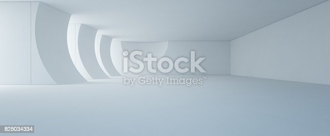 istock Abstract interior design of modern white showroom with empty floor and concrete wall background 825034334