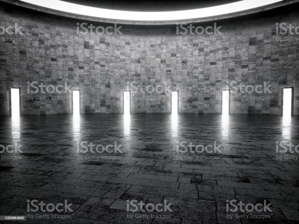 Abstract interior design of showroom stock photo