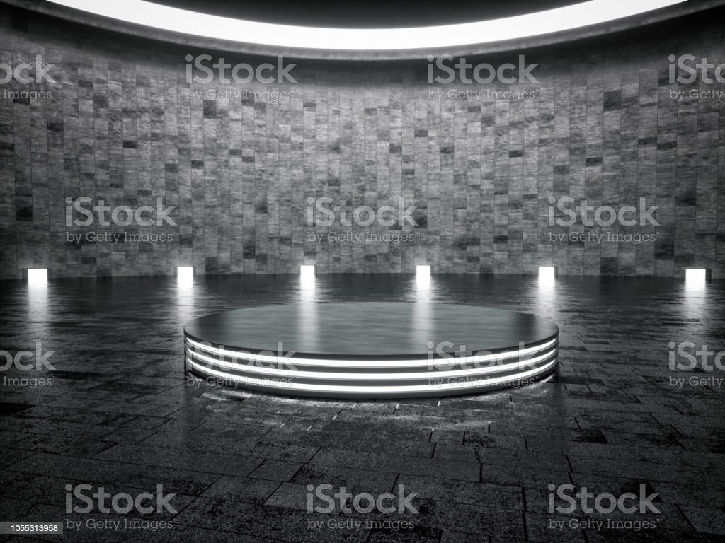 Abstract interior design of showroom with pedestal stock photo
