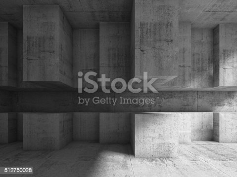 585055656 istock photo Abstract interior design with cubic installation 3d 512750028