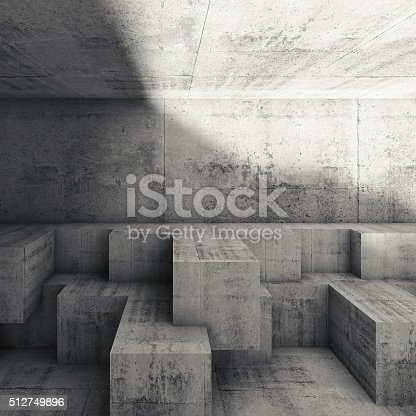 585055656 istock photo Abstract interior design with cubic structures 3 d 512749896