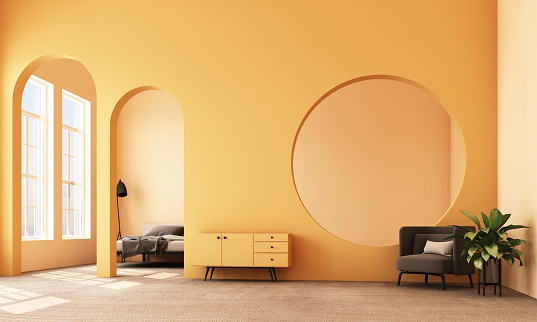 Abstract interior design.living area and bedroom with architectural elements in yellow tone, circular arc, round opening and concrete floor.3d rendering