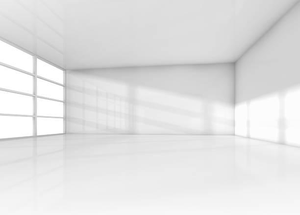 abstrait intérieur blanc vide avec lumière naturelle - show room photos et images de collection