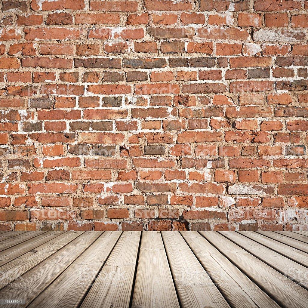Abstrakte Innenraum Mit Holzfussboden Und Red Brick Wall Stockfoto Und Mehr Bilder Von Abstrakt Istock