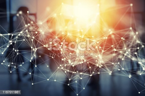 Futuristic abstract internet connection network background with silhouette of business team