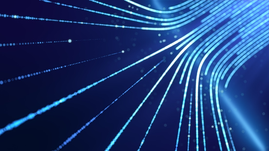 abstract internet data light stripe flowing in cyberspace, network information communication technology concept, neon curve line moving in motion