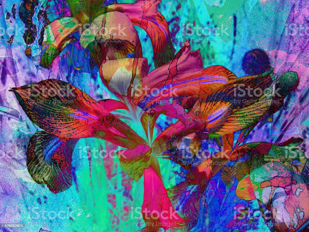 Abstract Iris in blues stock photo