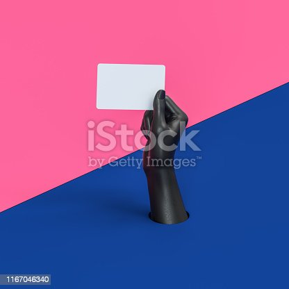 istock Abstract isolated black hand holding blank business card or credit card 1167046340