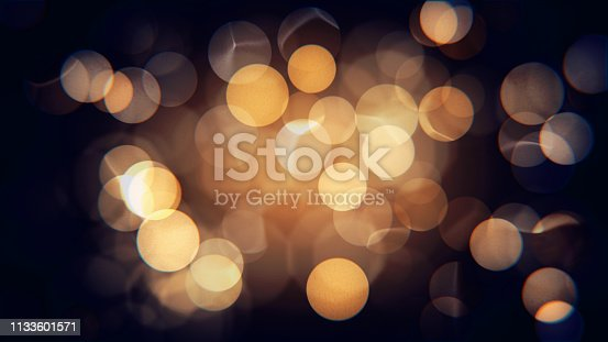 Abstract isolated blurred festive yellow orange lights with bokeh. Sparkling circular stars motion 3D illustration. Holiday concept backdrop with twinkling bright shapes.Blinking Christmas Tree lights