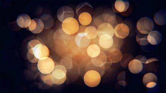 Photo libre de droit de Abstrait Isolé Floue Festif Jaune Et Orange Lumières De Noël Avec Bokeh banque d'images et plus d'images libres de droit de Abstrait
