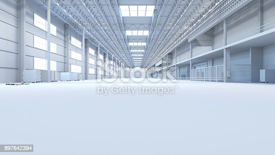 513948652 istock photo Abstract isolated factory and warehouse room background for industry 3D Rendering 897642394