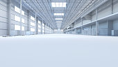 Abstract isolated factory and warehouse room background for industry 3D illustration