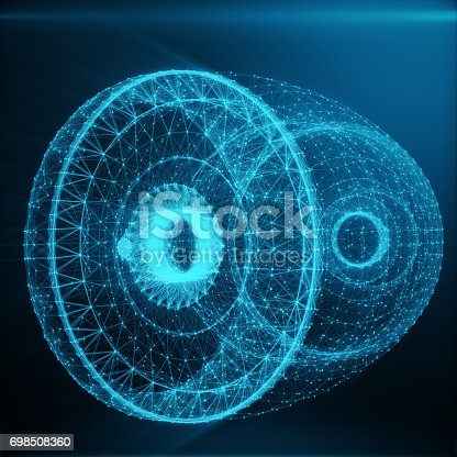 istock Abstract Jet Engine, Abstract Polygonal Consisting of Blue Dots and Lines. Jet Engine on Blue tint Background, 3D rendering 698508360