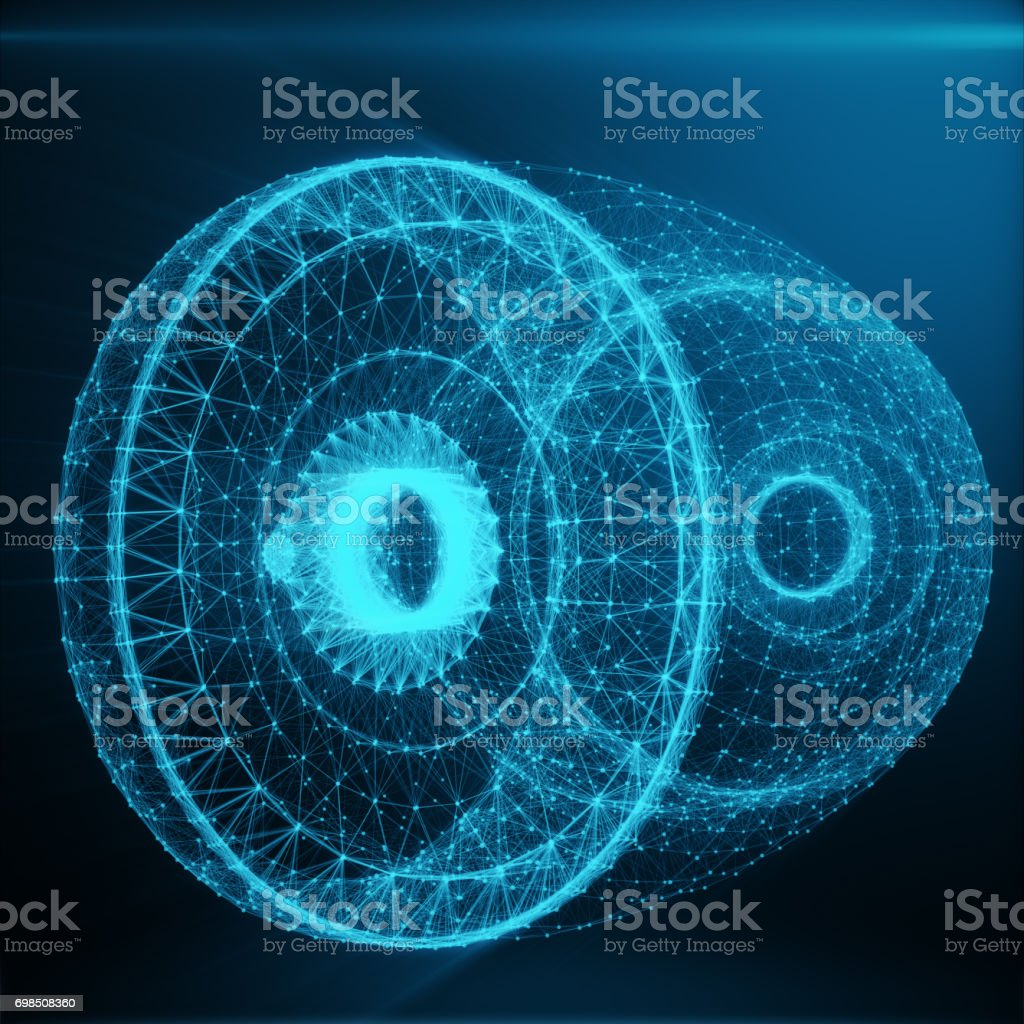Abstract Jet Engine, Abstract Polygonal Consisting of Blue Dots and Lines. Jet Engine on Blue tint Background, 3D rendering stock photo