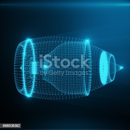 istock Abstract Jet Engine, Abstract Polygonal Consisting of Blue Dots and Lines. Jet Engine on Blue tint Background, 3D rendering 698508362