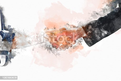 istock Abstract Join hands business concept and handshake concept on watercolor painting background. 1082680628