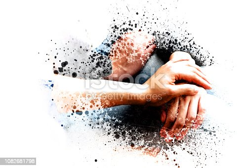 istock Abstract Join hands business concept and handshake concept on watercolor painting background. 1082681798