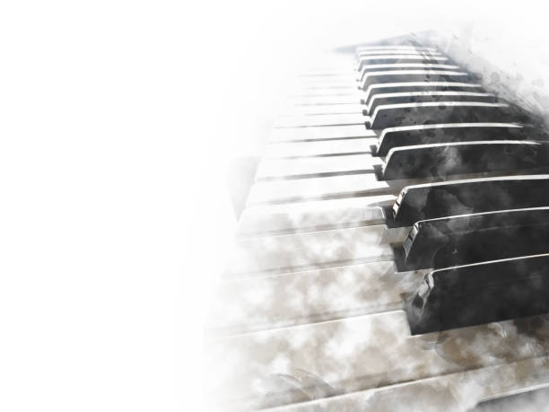 Abstract keyboard of the piano foreground Watercolor painting background and Digital illustration brush to art. Abstract keyboard of the piano foreground Watercolor painting background and Digital illustration brush to art. string instrument stock pictures, royalty-free photos & images