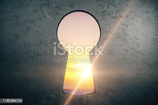 Abstract concrete wall with keyhole opening and sunlight view. 3D Rendering