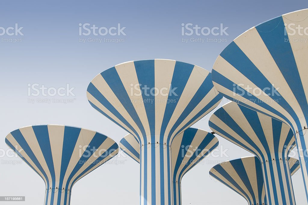 Abstract Kuwait water towers stock photo