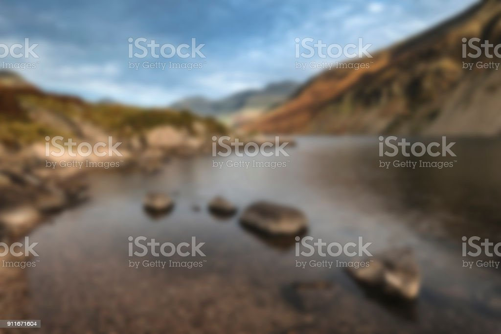 Abstract landscape image with blur filter for use in designs as a background stock photo