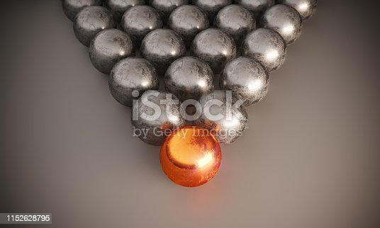 Scratched different colored sphere leading gray ones, symbolizing individuality-leadership concepts. ( 3d render )