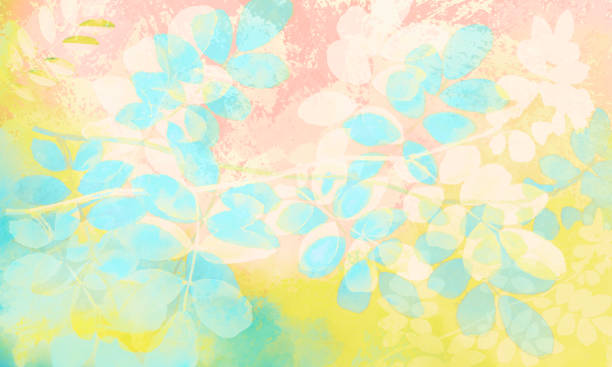 Abstract Leaves on Pastel-colored Watercolor Background stock photo