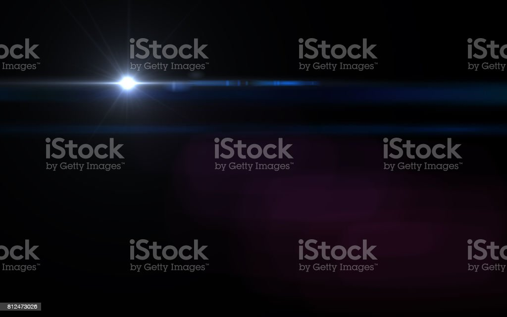 Abstract Lens Flare light blue light streak and black background stock photo