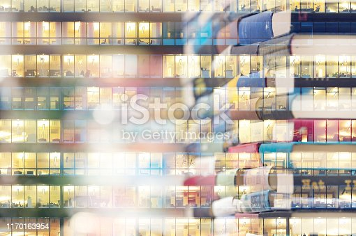 istock Abstract library bookshelf, office building, double exposure 1170163954