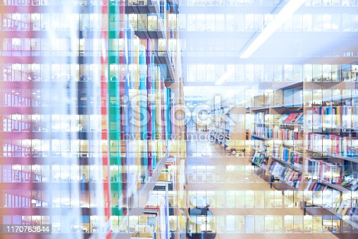 istock Abstract library bookshelf, reflection of office building, double exposure 1170763644