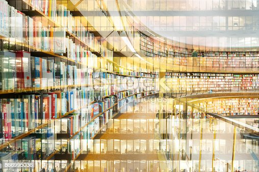 istock Abstract library bookshelf, reflection of office building 866995036