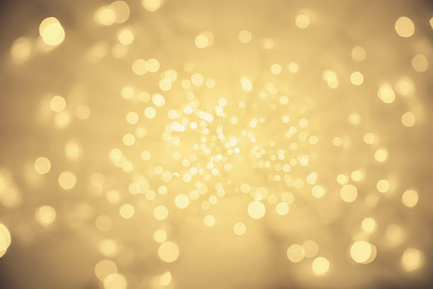 Abstract Light Background, Vanishing Point Perspective, Blurred Lighting Sparkles - foto stock