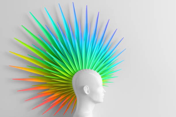 abstrakte licht hintergrund mit weiblichem profil und der anrufer modische frisur mohawk in den farben des regenbogens gemalt. lgbt-konzept. 3d-illustration - vogue muster stock-fotos und bilder