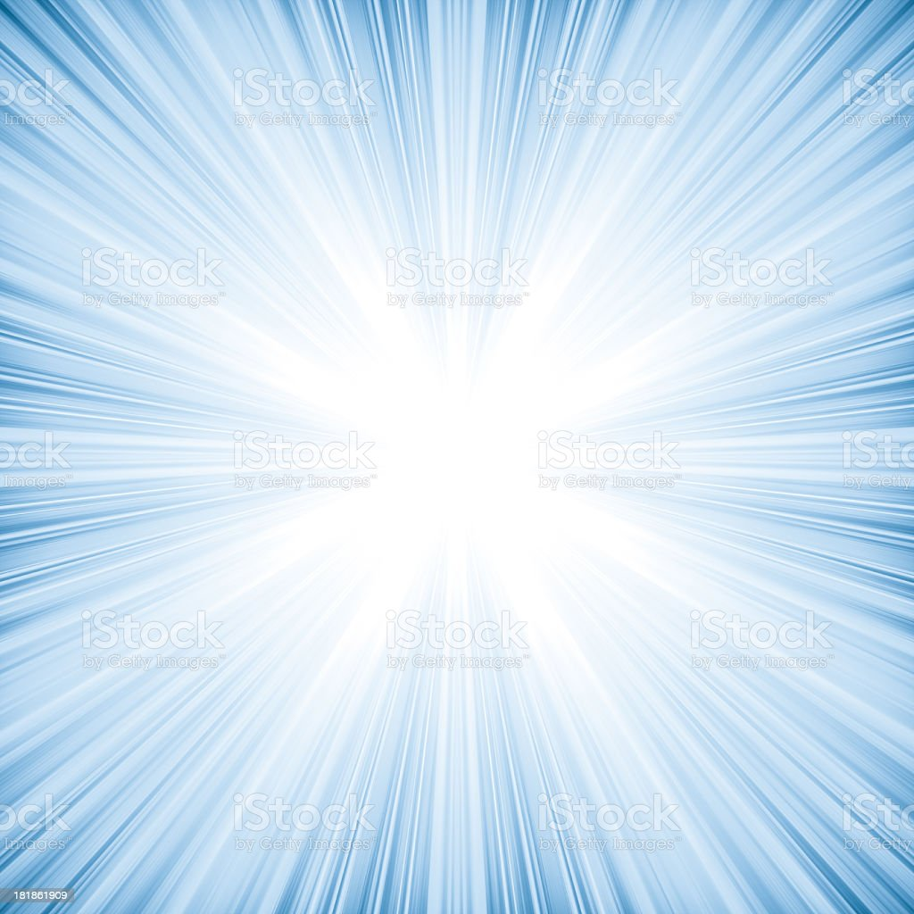 Abstract light blue background looks like explosion or bright star stock photo