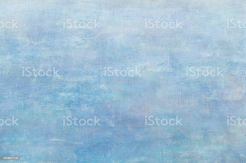 Abstract light blue oil paint background with brush stokes on canvas. stock photo
