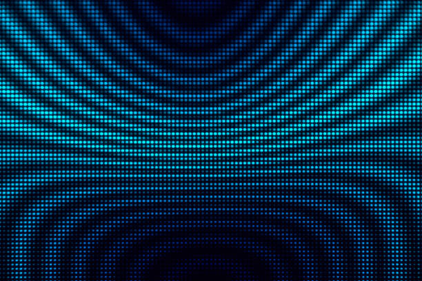 Abstract Light Dots Background - Blue Circle Wave Display LED Defocused stock photo