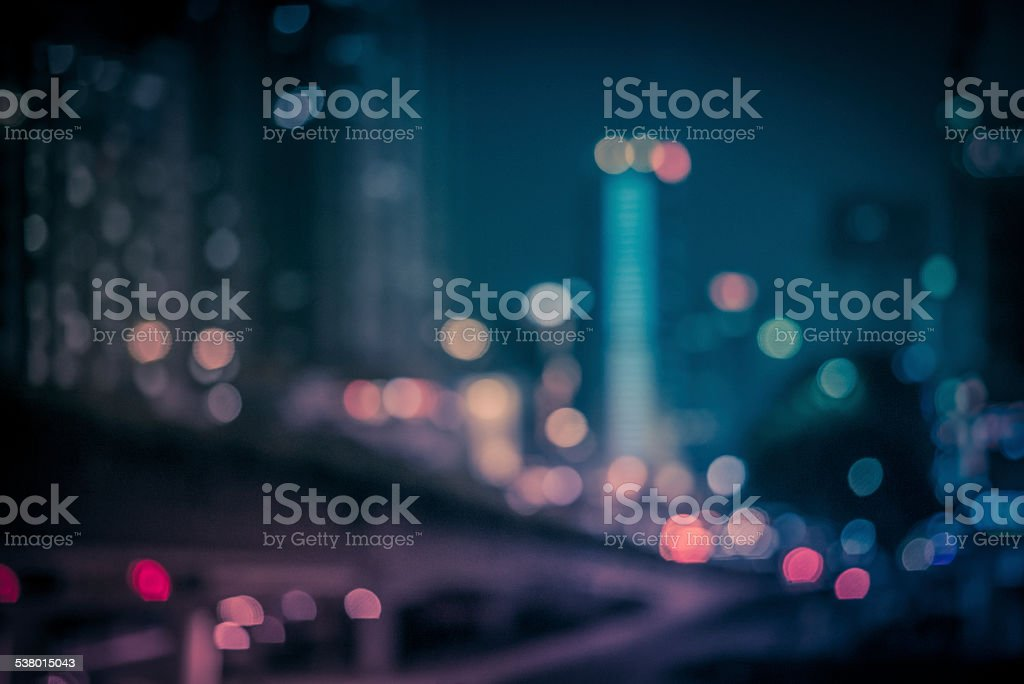 abstract light in city at night stock photo