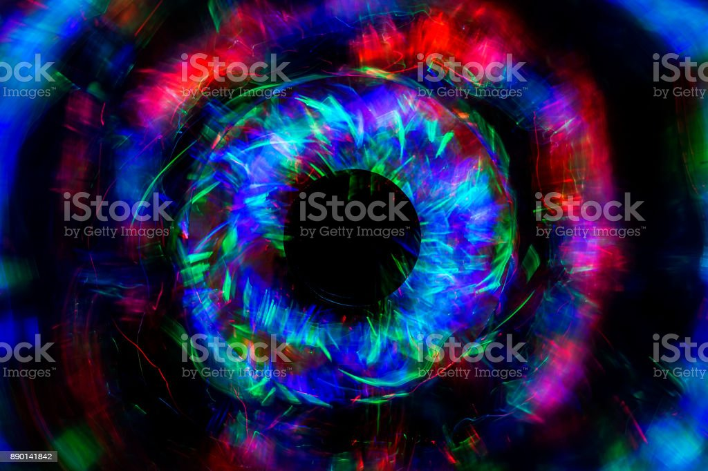 Abstract line from LED light with mirror on the black background. stock photo