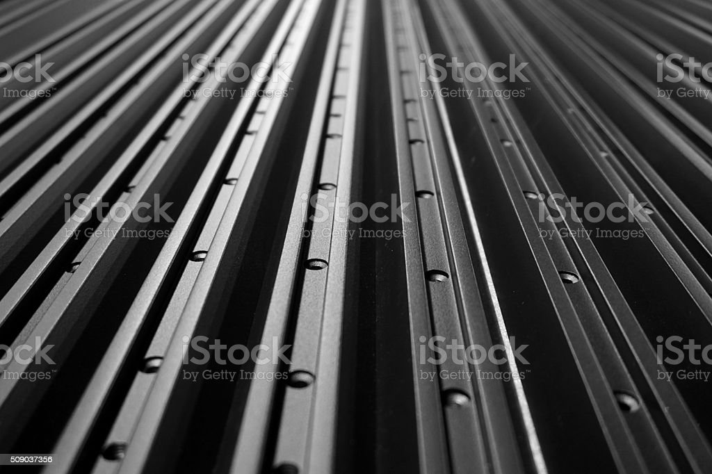 abstract line up of aluminum profile stock photo