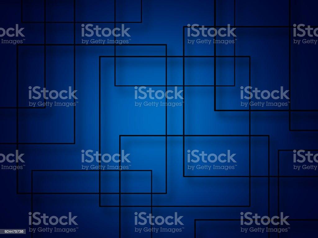 藍色背景上的抽象線條正方形圖像檔