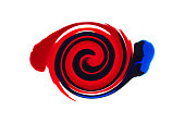 Abstract liquid blue and red paint spiral background