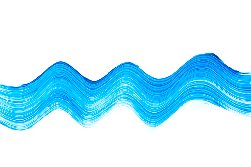 Abstract liquid blue paint brush stroke curl on white background
